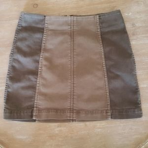 Free People Two Tone Brown Color Block Skirt